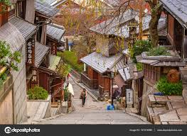 japanese town japanese old town in higashiyama district of kyoto japan stock
