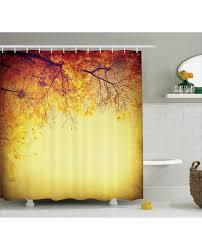 decor shower curtain retro autumn view print for bathroom