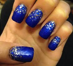 royal blue with silver sparkle glitter prom nails 2k14 grad