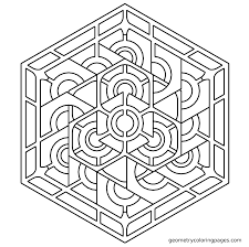 geometric tessellation with rhombus pattern coloring page for