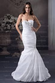 white crystal mermaid wedding dresses with sweetheart satin