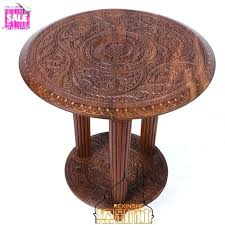 carved round coffee table indian hand carved coffee table