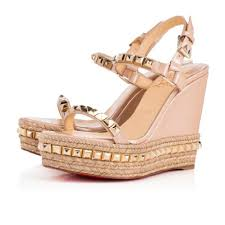 christian louboutin beige cataclou 120mm wedge sandals size