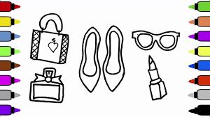 how to draw set of female accessories lipstick perfume handbag