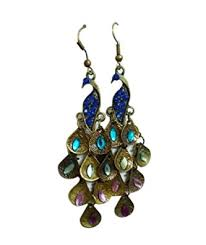 bronze colour restoring ancient ways peacock earrings