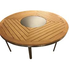 viyet designer furniture tables gloster kore teak round