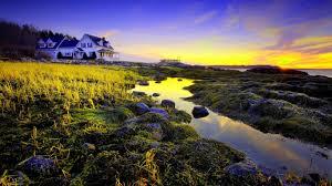 sunset beautiful morning sunset stones house bungalow landscape
