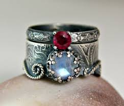 ruby sterling rings images Moonstone mermaid ring sterling silver ruby wedding set jpg