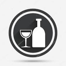 Preferidos sinal de álcool. símbolo de bebida. garrafa com copo — Vetores de  &WQ65