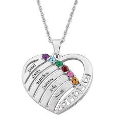 personalized birthstone necklace for s day day necklaces custom actual fingerprint heart