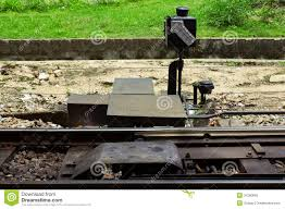 manual railroad switch by the rail with point indicator royalty