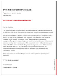 internship confirmation letter u2013 smart letters