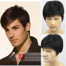 haircut calgary cheap handsome short hairstyle with side left part mens human hair wigs