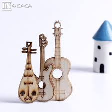kawaii artificial wooden mini guitar home decor figurine ornaments