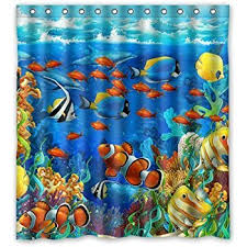Fish Curtains Tropical Fish Shower Curtain Home Kitchen