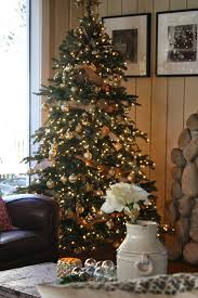 nordmann fir narrow tree decorated for the holidays by