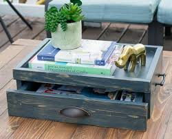 free diy plans to build a coffee table serving tray with drawer