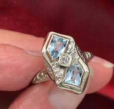fine art rings images Fine art deco 14k white gold aquamarine and diamond ring boylerpf jpg