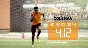 christian coleman clocks 4 12 for 40 yard dash video si com