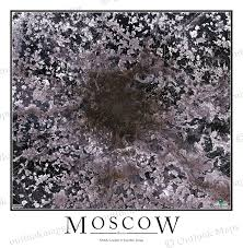 Moscow Map Moscow Russia Satellite Map Print Aerial Image Poster