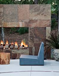 stone gas fireplace patio contemporary with concrete concrete