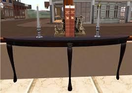 Demilune Console Table Second Life Marketplace Victorian Queen Anne Demilune Console