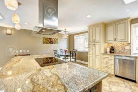 Big Kitchen Islands Spacious Kitchen Room With Tile Floor Big Kitchen Island With
