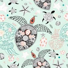graphic sea seamless pattern of ornamental turtles and marine