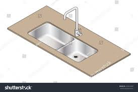 Double Bowl Stainless Steel Kitchen Sink Undermount Double Bowl Stainless Steel Kitchen Stock Vector