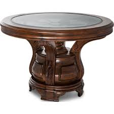 Michael Amini Dining Room Aico Tuscano Melange Round Dining Table With Shelf And Glass Top