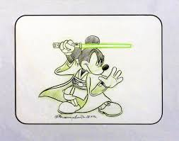 dizdude com mickey mouse as jedi mickey hand drawn matted sketch