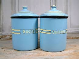 enamel kitchen canisters vintage art deco french enamel kitchen canisters in baby blue with