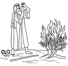 Burning Bush Moses Coloring Pages Netart Bible Coloring Pages Moses