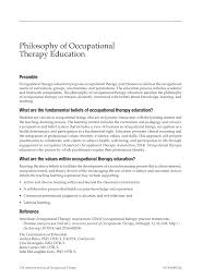 Sample Entry Level Nurse Resume Philosophy Of Occupational Therapy Education 2014 American