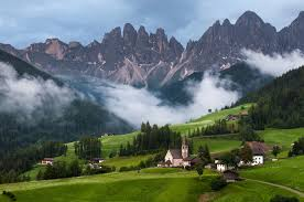 nature landscape mountain clouds trees italy dolomites