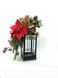 christmas lantern swag in red green w poinsettia berries bow