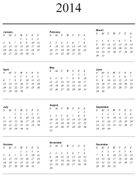 4 best images of yearly calendar 2014 printable one page year