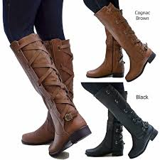 womens boots ecd brown black buckle knee high cowboy boots 5 5
