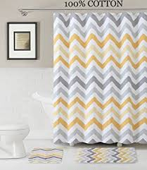 Yellow And White Shower Curtain 3 Pc Bath Set Shower Curtain And 2 Mats Chevron Zig