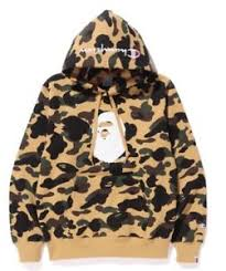 brand new bape x champion hoodie camo yellow small never used with