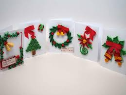 5 small christmas cards handmade with paper filigree kolours