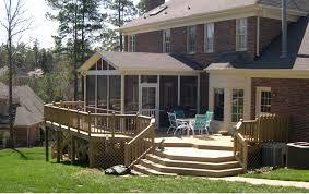 tasteful patio deck furnishing ideas with wooden half rail fences
