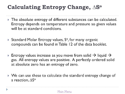 Standard Entropy Change Table Title Lesson 8 Spontaneity And Entropy Ppt