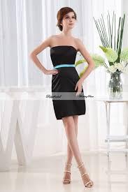 satin sheath strapless sleeveless sash short mini length
