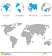 7 Continents Map World Map With Highlighted Continents Stock Vector Image 39078614