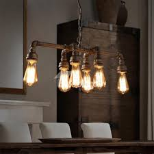 Dining Room Pendant Lighting Fixtures Dining Room Designs Six Light Piping Industrial Dining Room