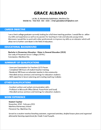Job Resume Of Teacher by Sample Resume For Teacher Without Experience Templates