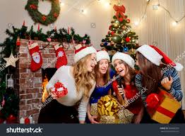 Christmas Tree Sing Friends Sing Karaoke Christmas New Year Stock Photo 520056259