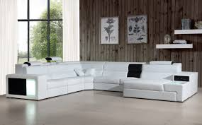 Black And White Sectional Sofa Casa Polaris Contemporary Leather Sectional Sofa With Lights
