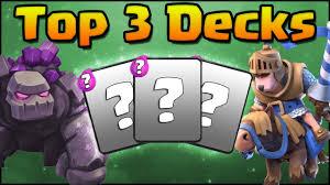 clash royale top 3 decks no legendary cards